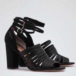 Reiss Women's Black Satin Ankle Strap sandal Heels